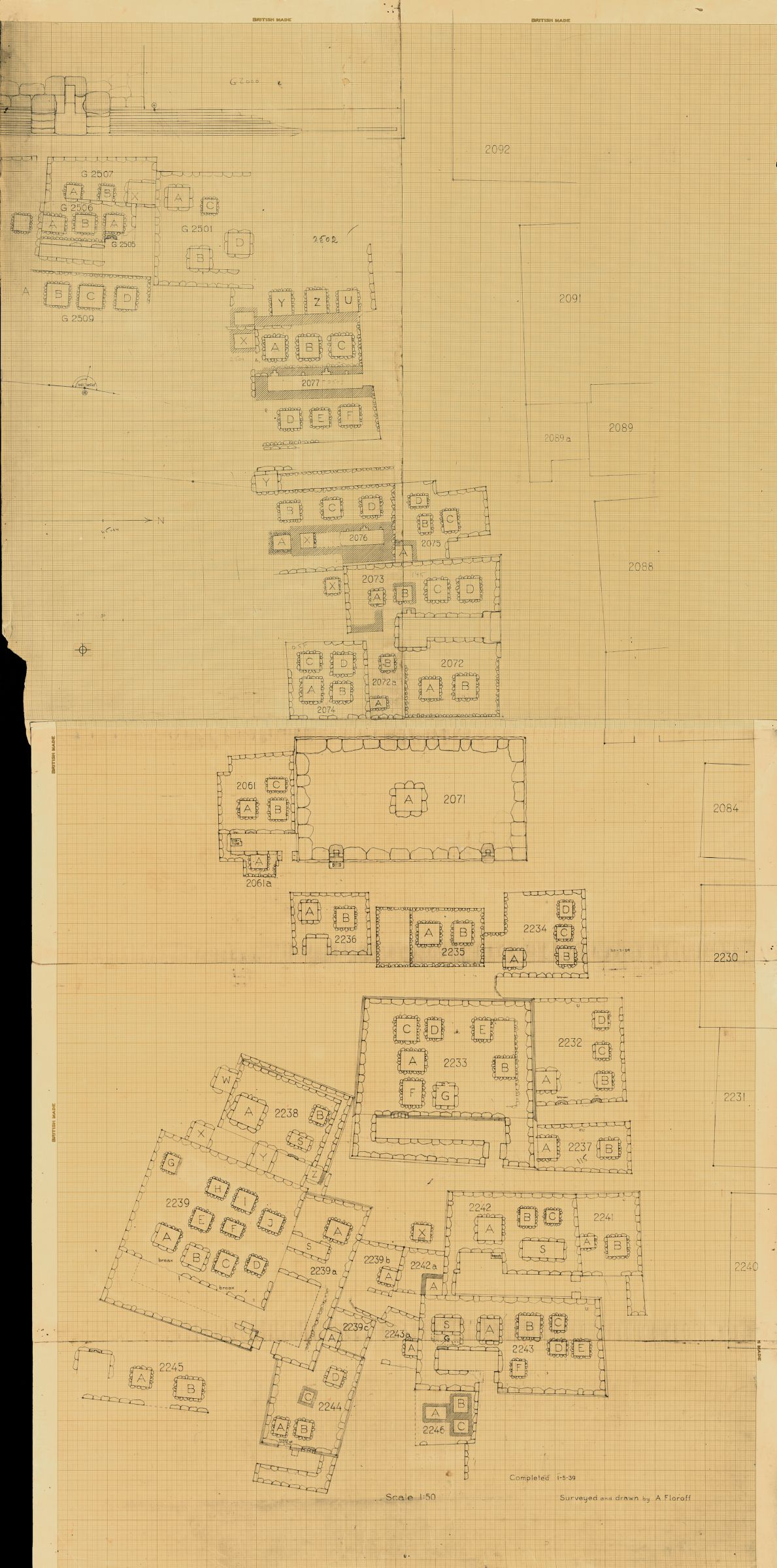Maps and plans: Plan of Cemetery G 2000, NNW part