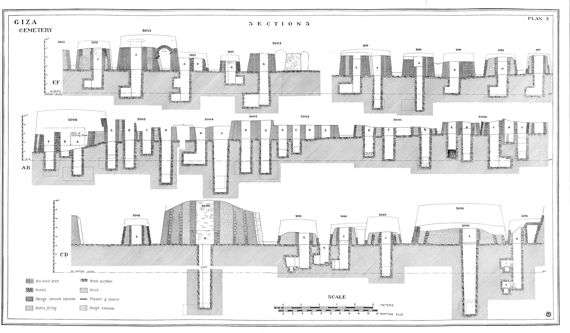 """Maps and plans: Plan #3 of Fisher """"Minor Cemetery"""" G 3000 - Cross Sections"""