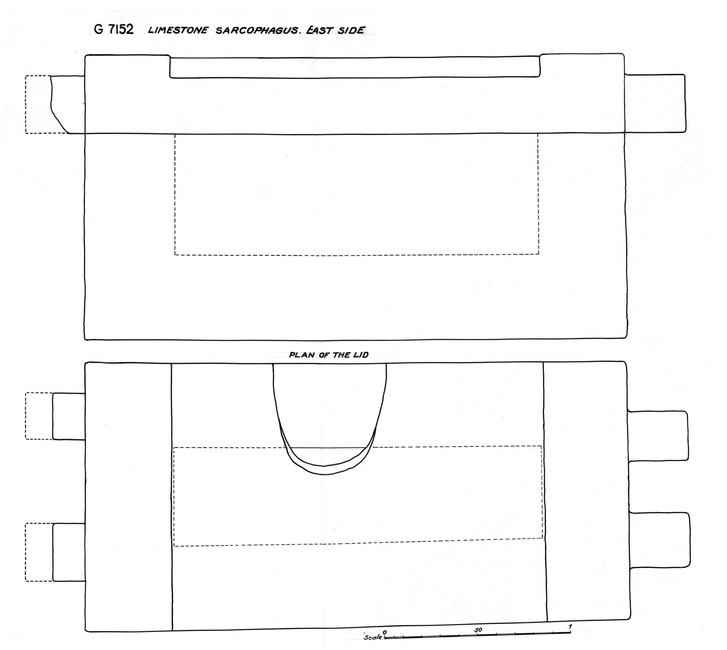 Drawings: G 7152, Shaft A, sarcophagus