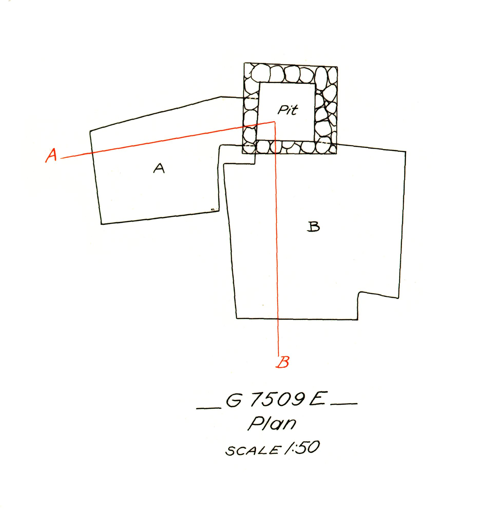 Maps and plans: G 7509, Shaft E