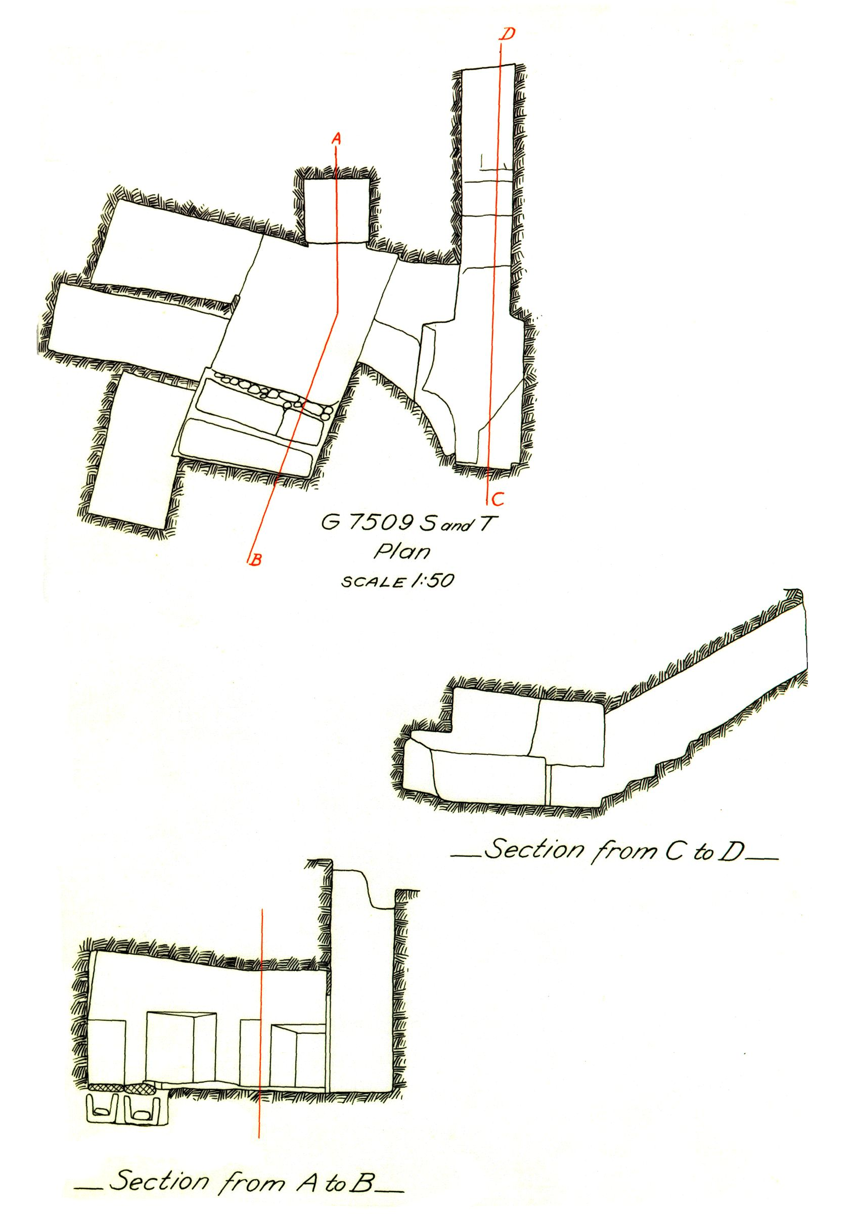 Maps and plans: G 7509, Shaft S and T