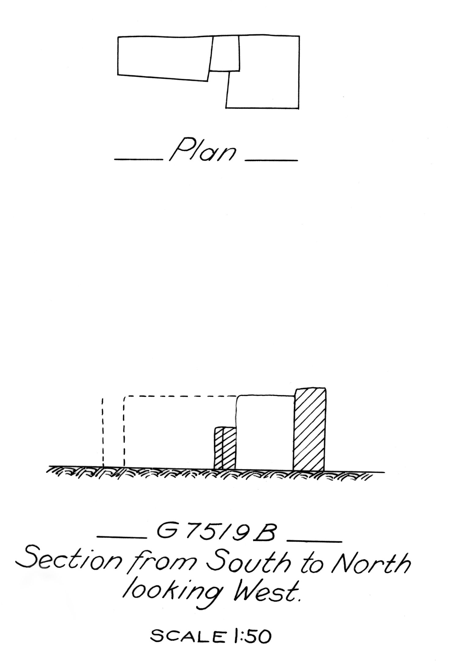 Maps and plans: G 7519, Shaft B
