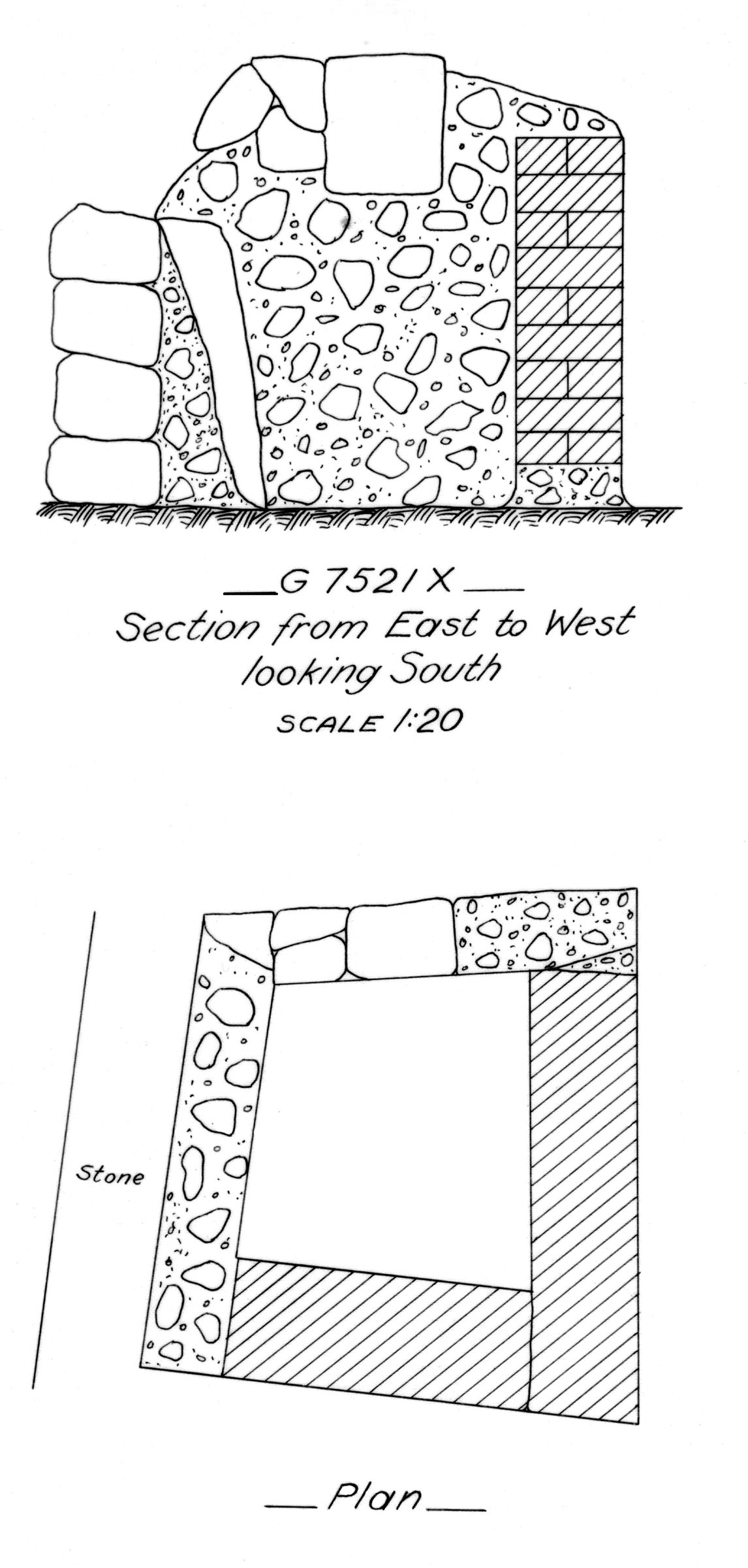 Maps and plans: G 7521, Shaft X