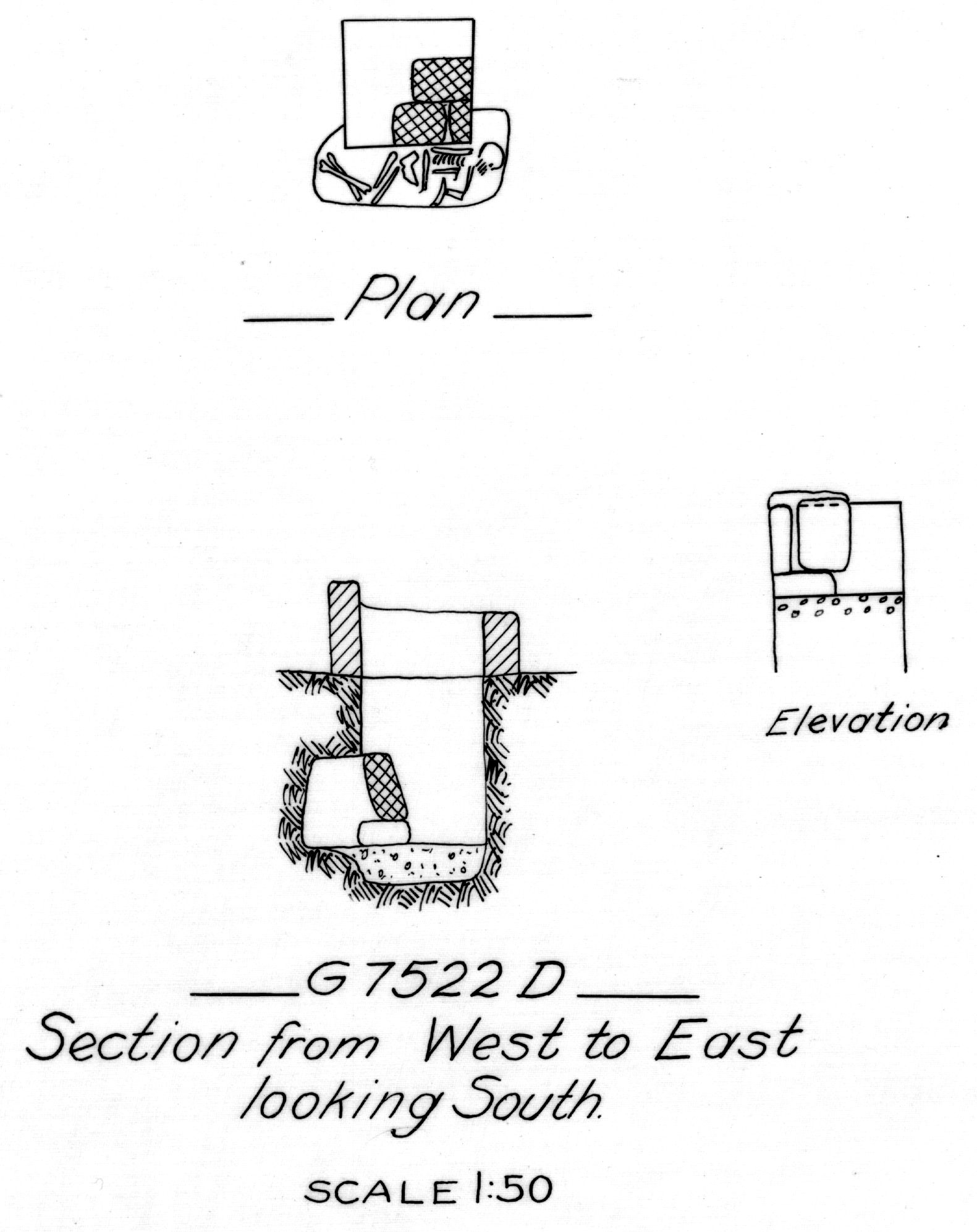 Maps and plans: G 7522, Shaft D