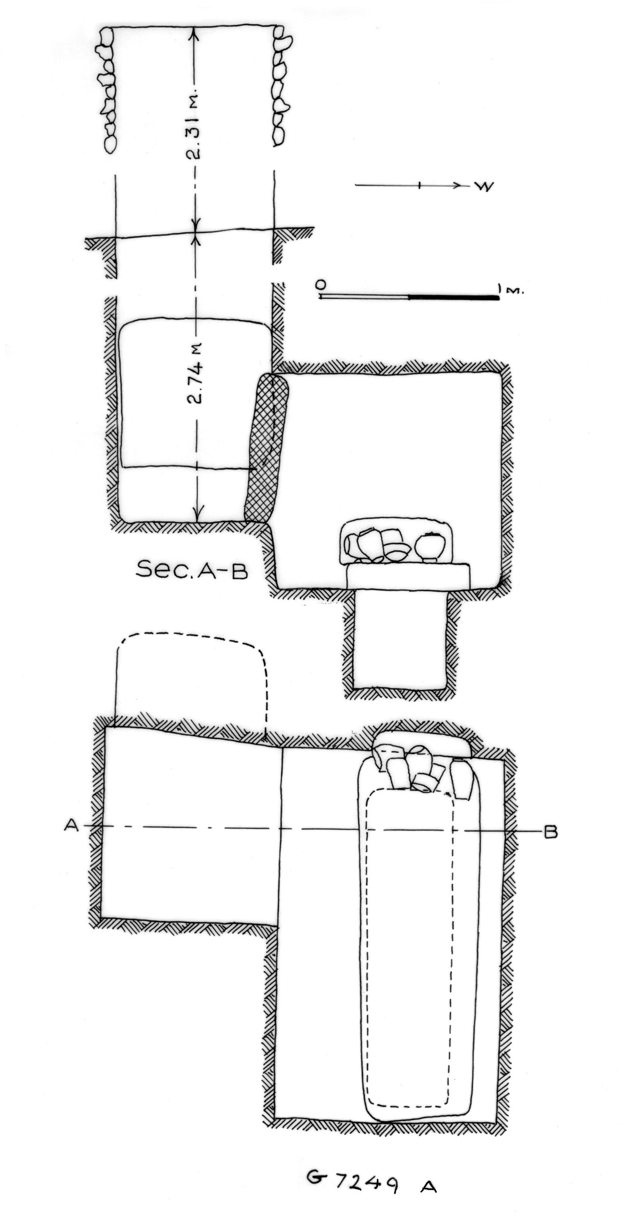 Maps and plans: G 7249, Shaft A