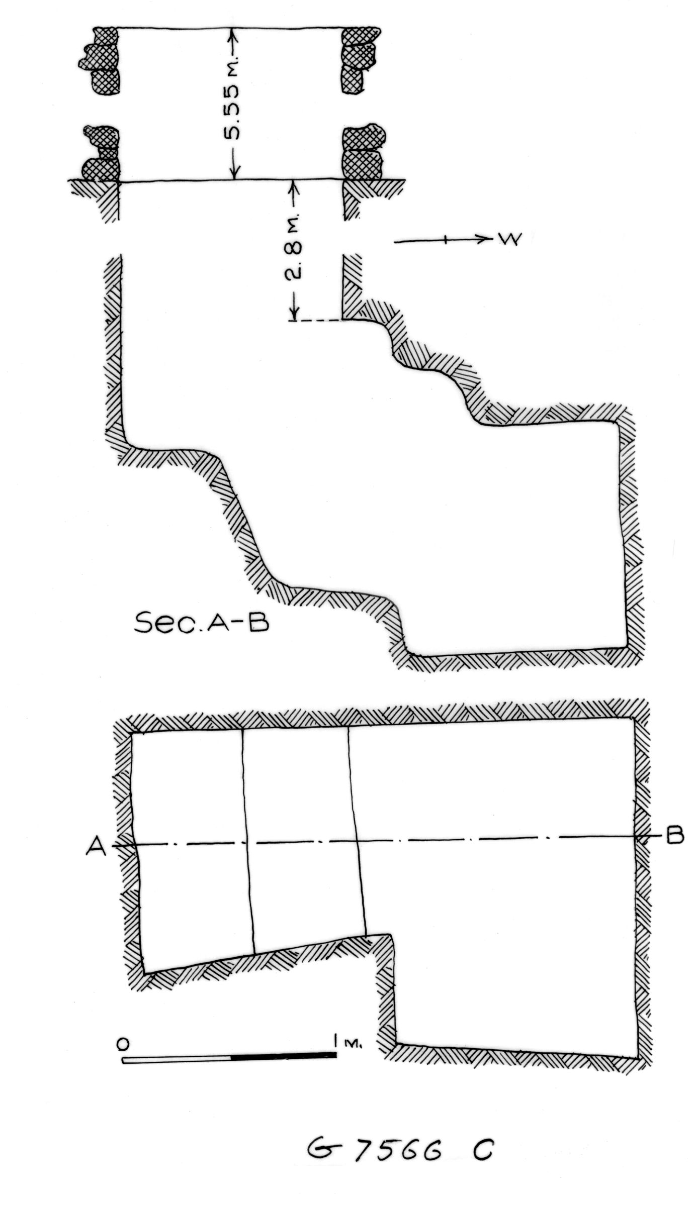 Maps and plans: G 7566, Shaft C