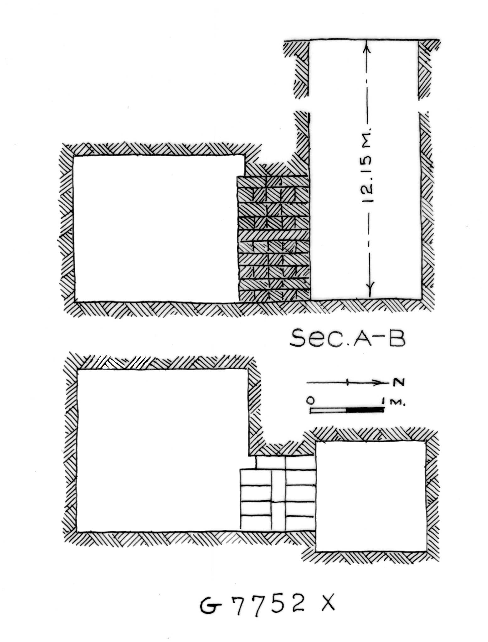 Maps and plans: G 7752, Shaft X