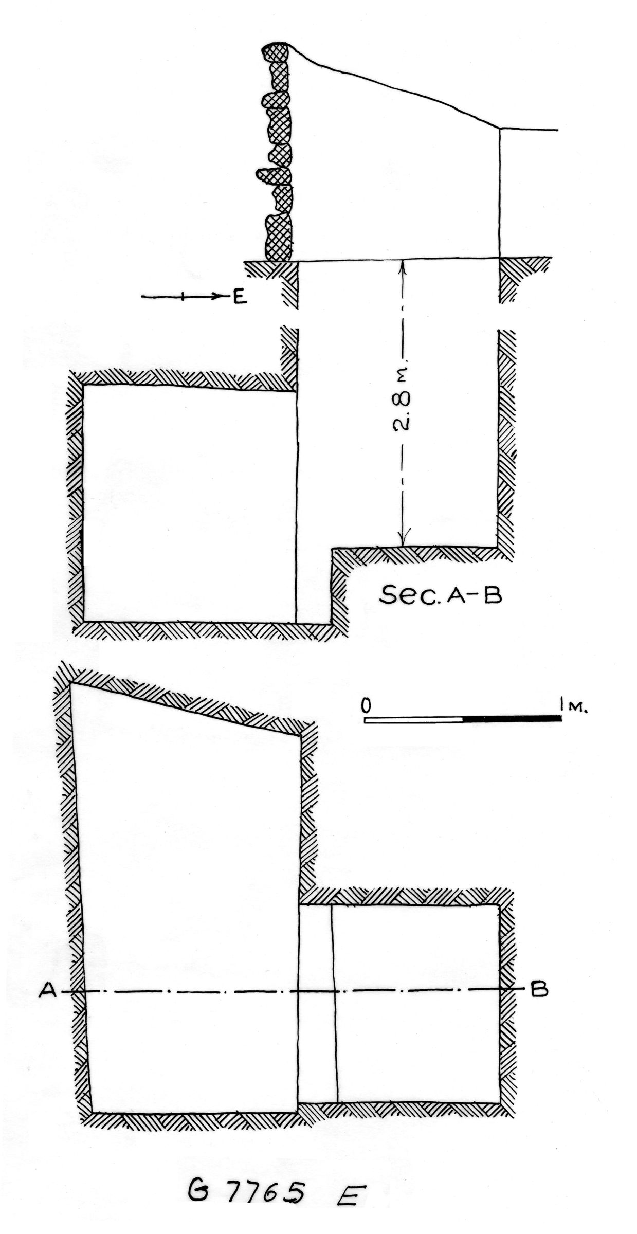 Maps and plans: G 7765, Shaft E