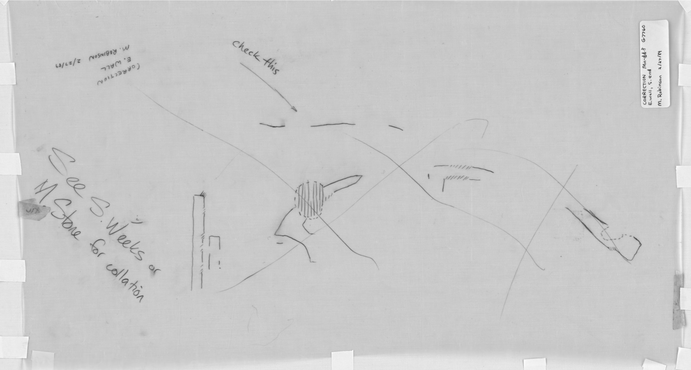 Drawings: G 7760: E wall, S end, correction