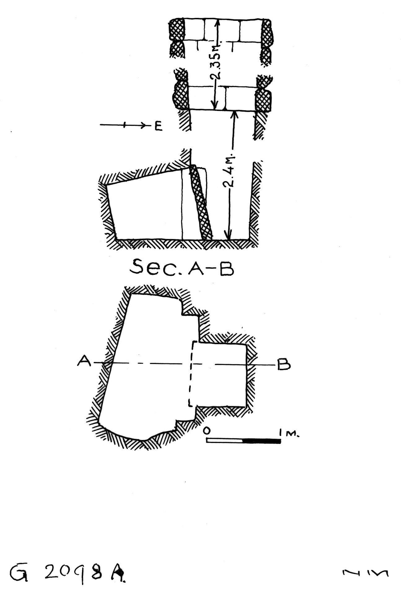 Maps and plans: G 2098, Shaft A
