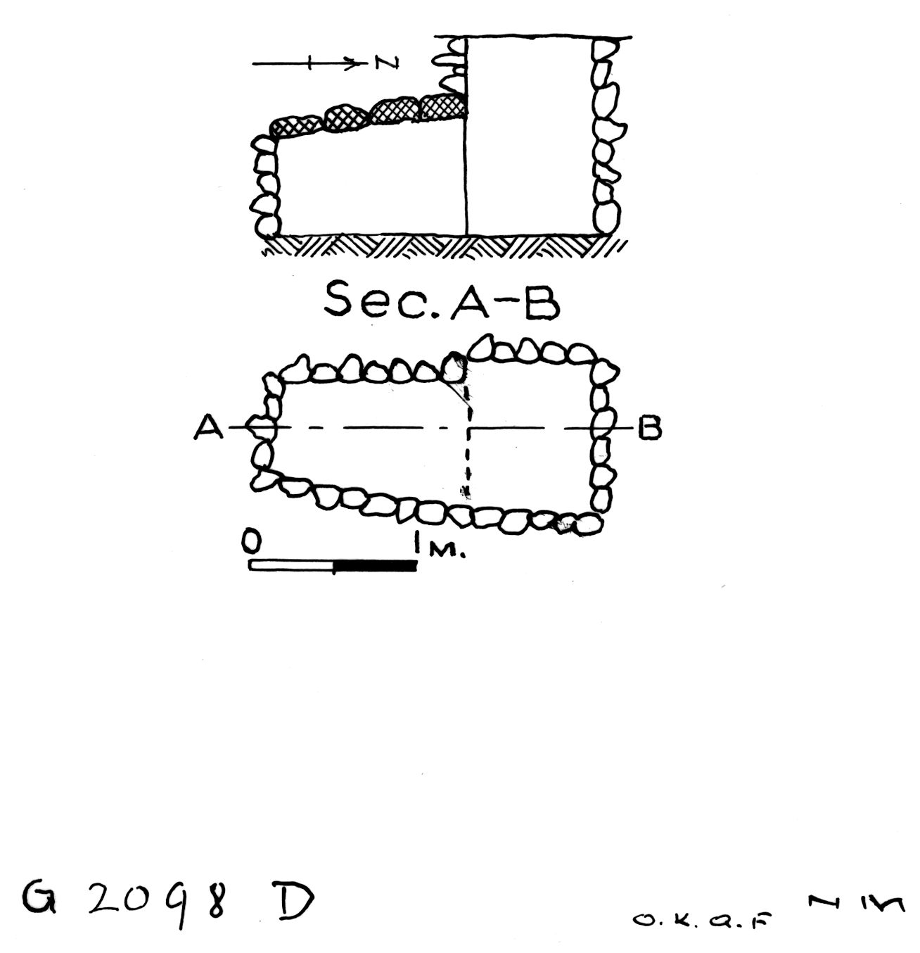 Maps and plans: G 2098, Shaft D