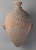 Elongated Ovoid Amphora With Pointed Bottom, Small Neck, Two Lug Handles, And Cord-Marked Decor