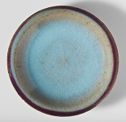 Circular Flat Dish With Everted Lip And Purple Rim