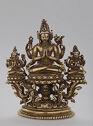 Seated, Six-Armed Bodhisattva Avalokiteshvara Flanked By Seated Târâ Figures