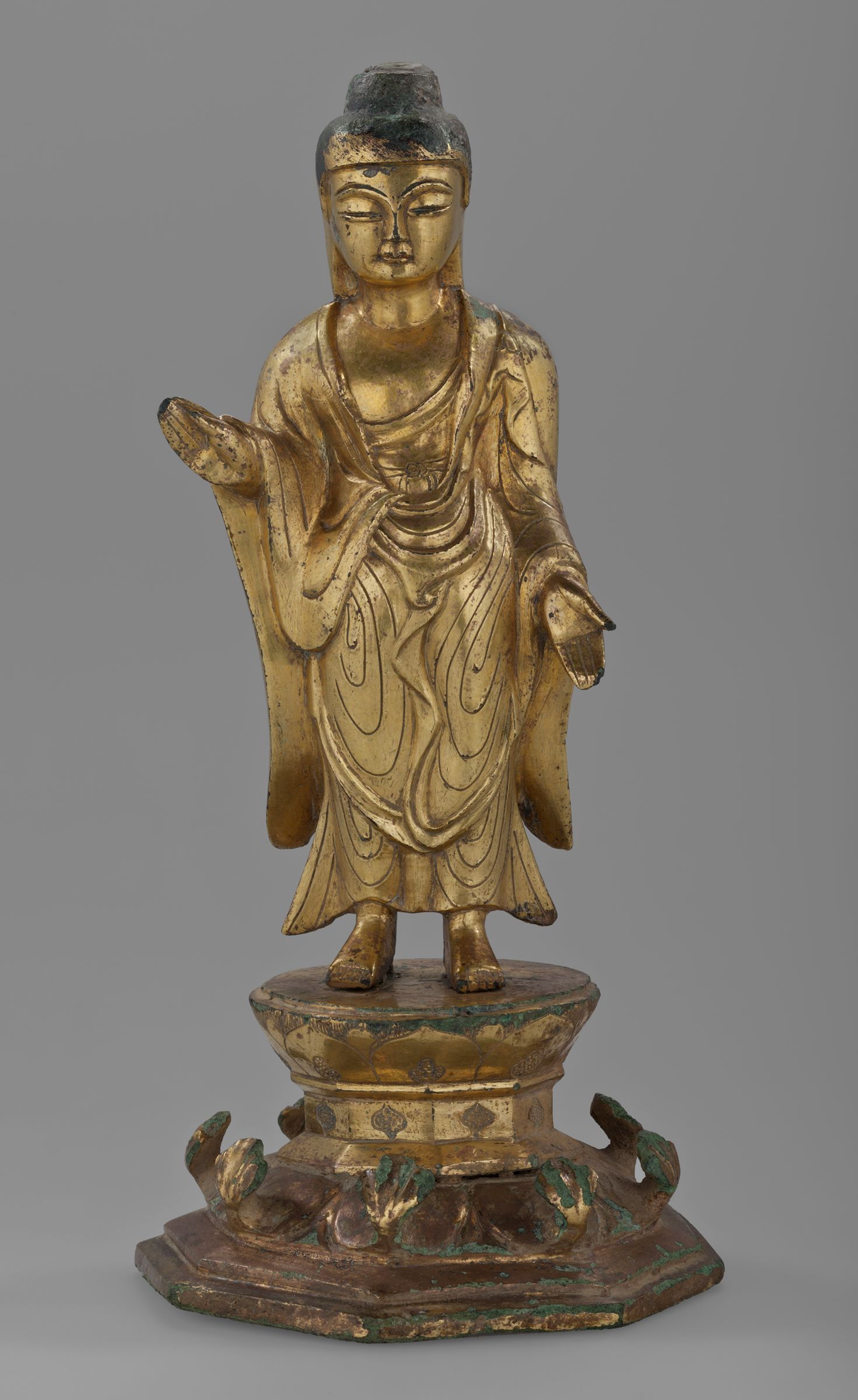 Buddha Standing On An Octagonal, Double-Lotus Base With His Right Hand Raised In The Abhaya-Mudra And His Left Hand Lowered In The Varada-Mudra, Probably The Buddha Shakyamuni (Sôk'kamoni Yôrae)