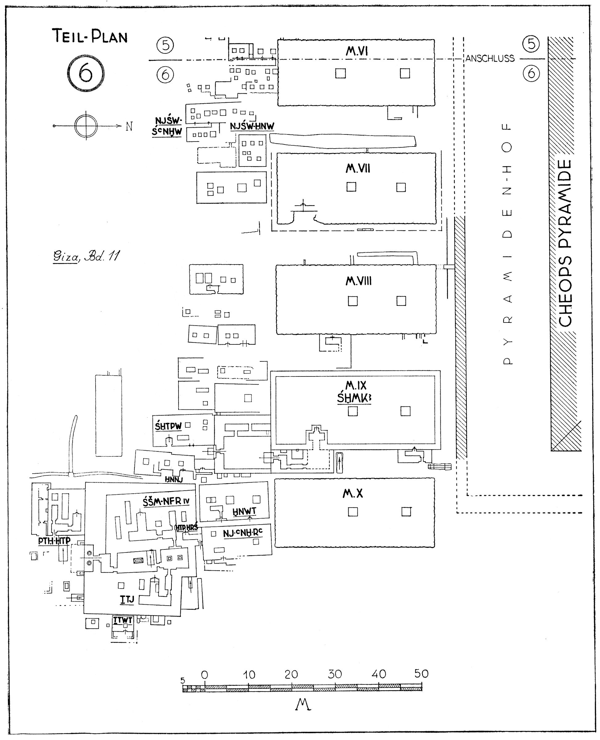 Maps and plans: Plan 6: Cemetery G I-South of German-Austrian Excavation Concession (East Half)