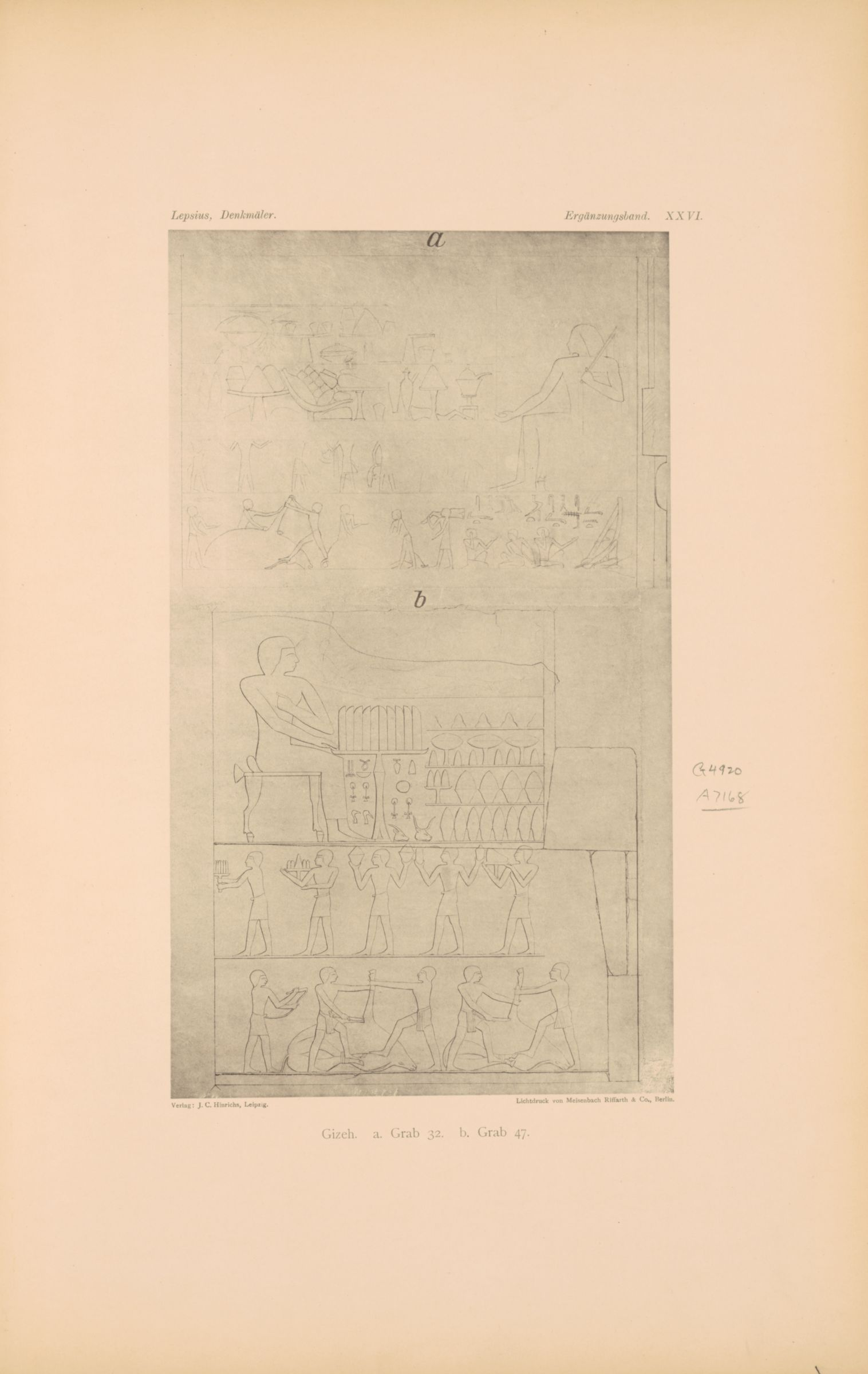 Drawings: Relief from G 5470 (= Lepsius 32), S wall, and G 4920 (= Lepsius 47), N wall