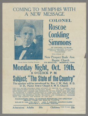 Coming to Memphis with a new message, Colonel Roscoe Conkling Simmons [flyer, approximately 1931] Digital Object