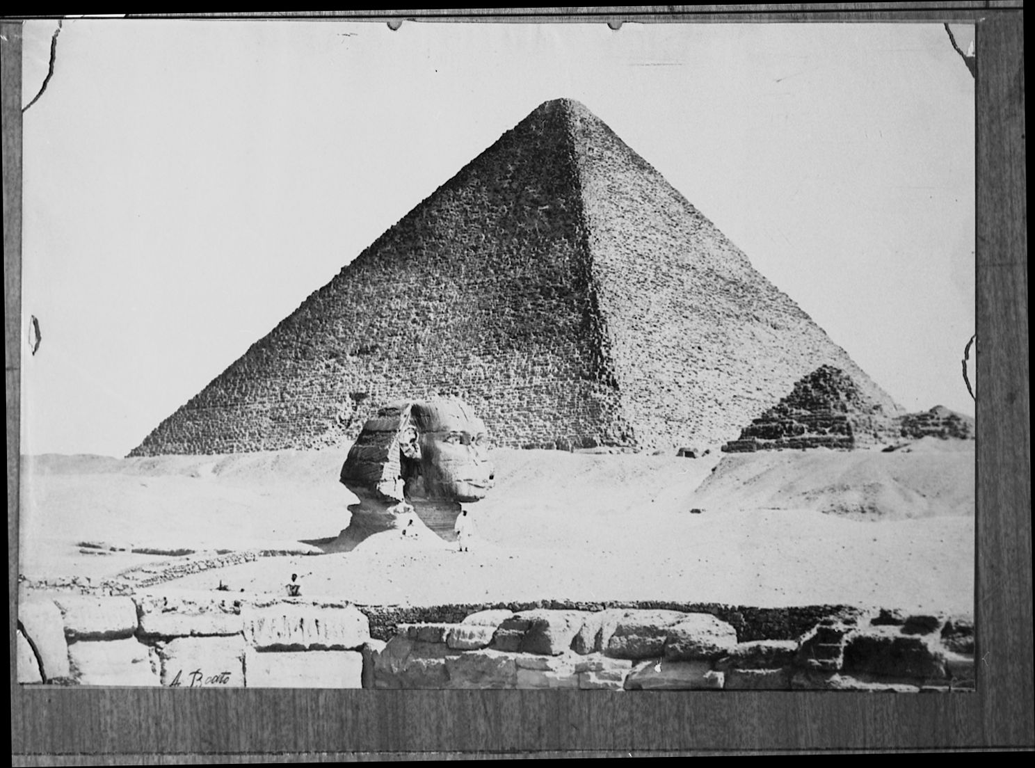 General view: Site: Giza; View: Sphinx; Khufu Pyramid