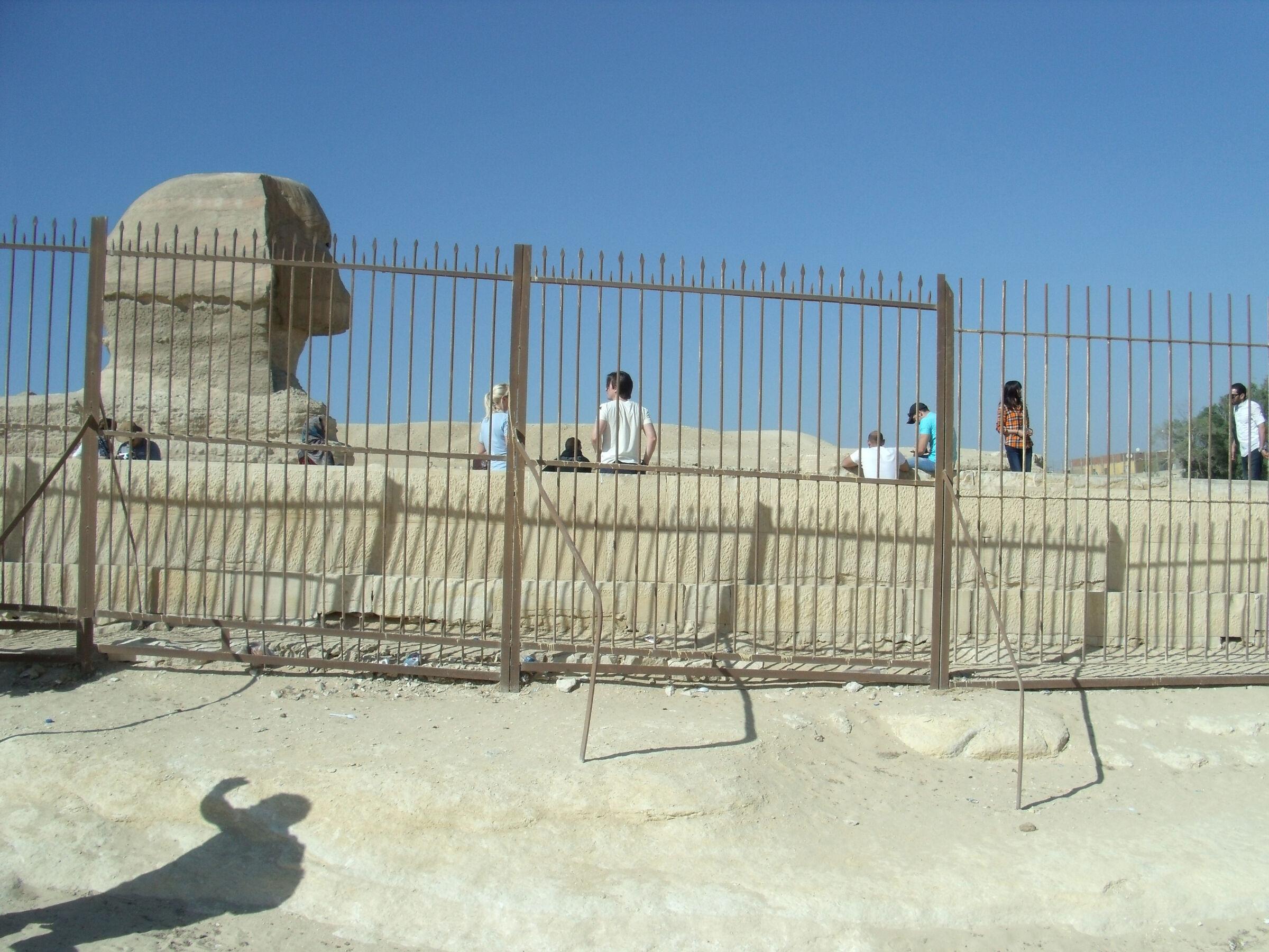 Khafre Pyramid Complex: Site: Giza; View: Khafre Valley Temple, Sphinx