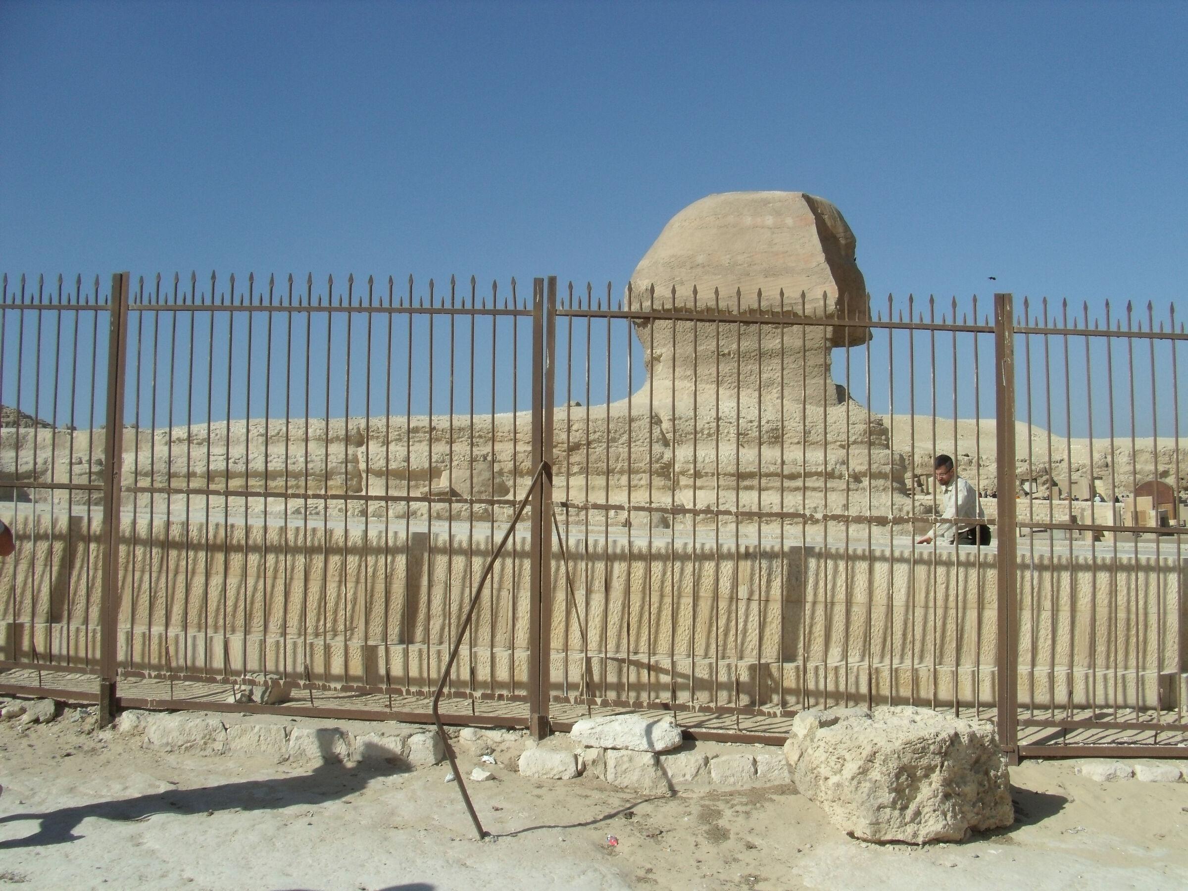 Khafre Pyramid Complex: Site: Giza; View: Khafre Causeway, Sphinx