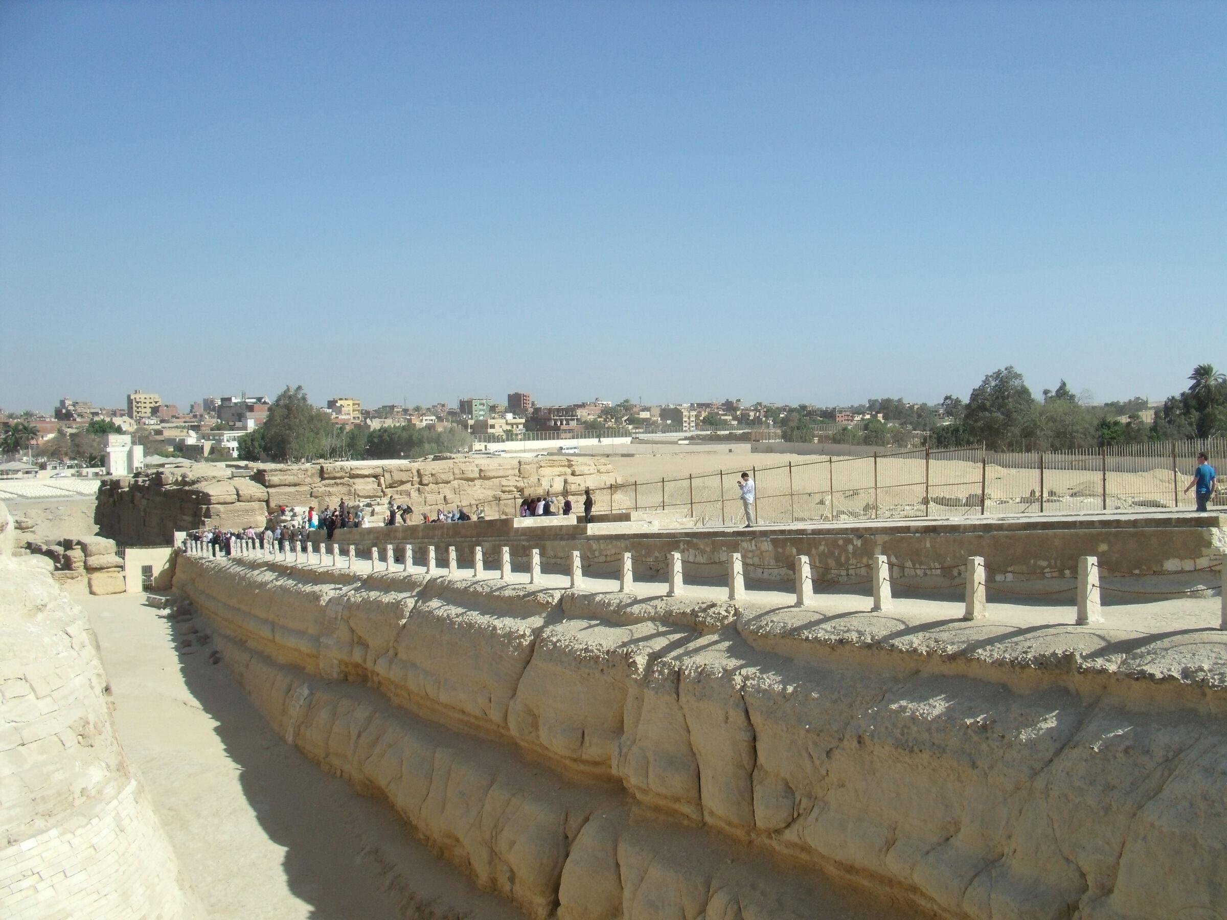 Sphinx Complex: Site: Giza; View: Khafre Valley Temple, Khafre Causeway, Sphinx