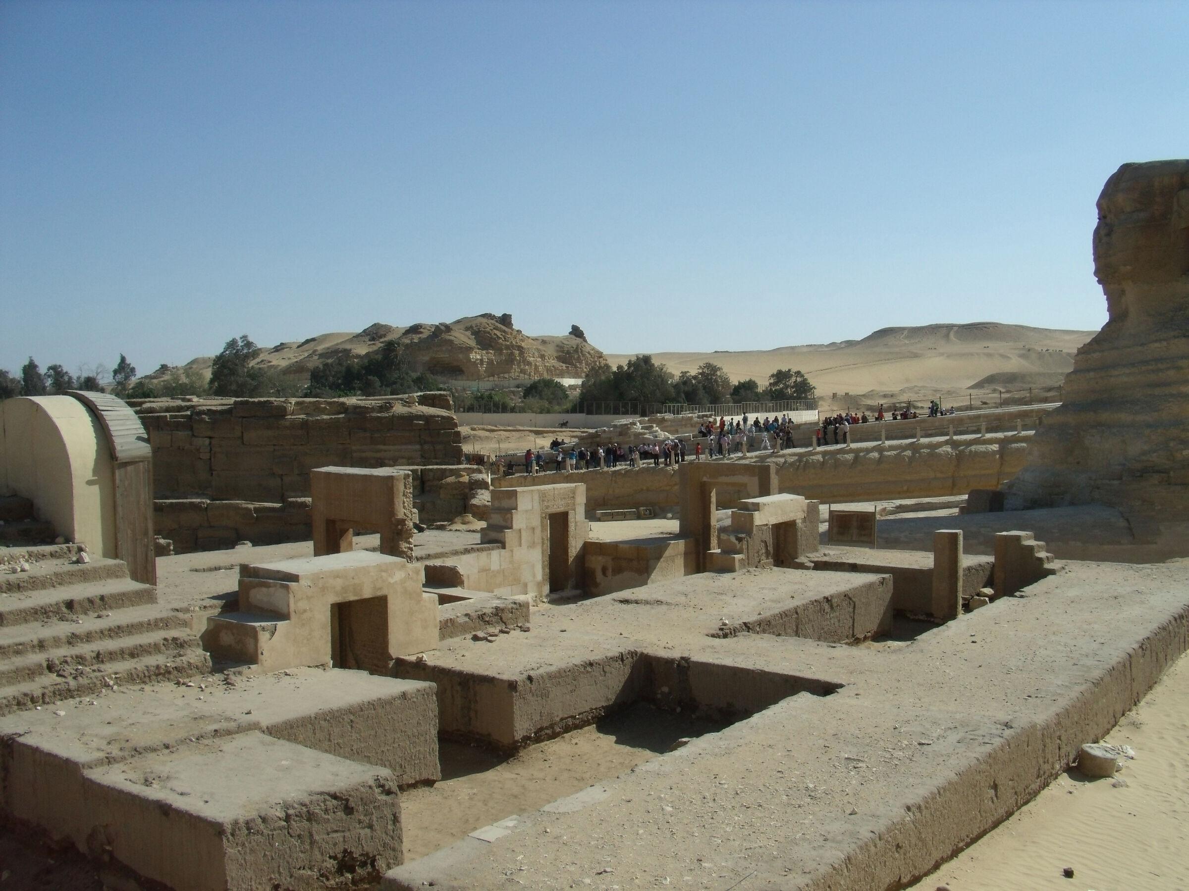 Sphinx Complex: Site: Giza; View: Sphinx, Sphinx Temple, Khafre Valley Temple, Temple of Amenhetep II