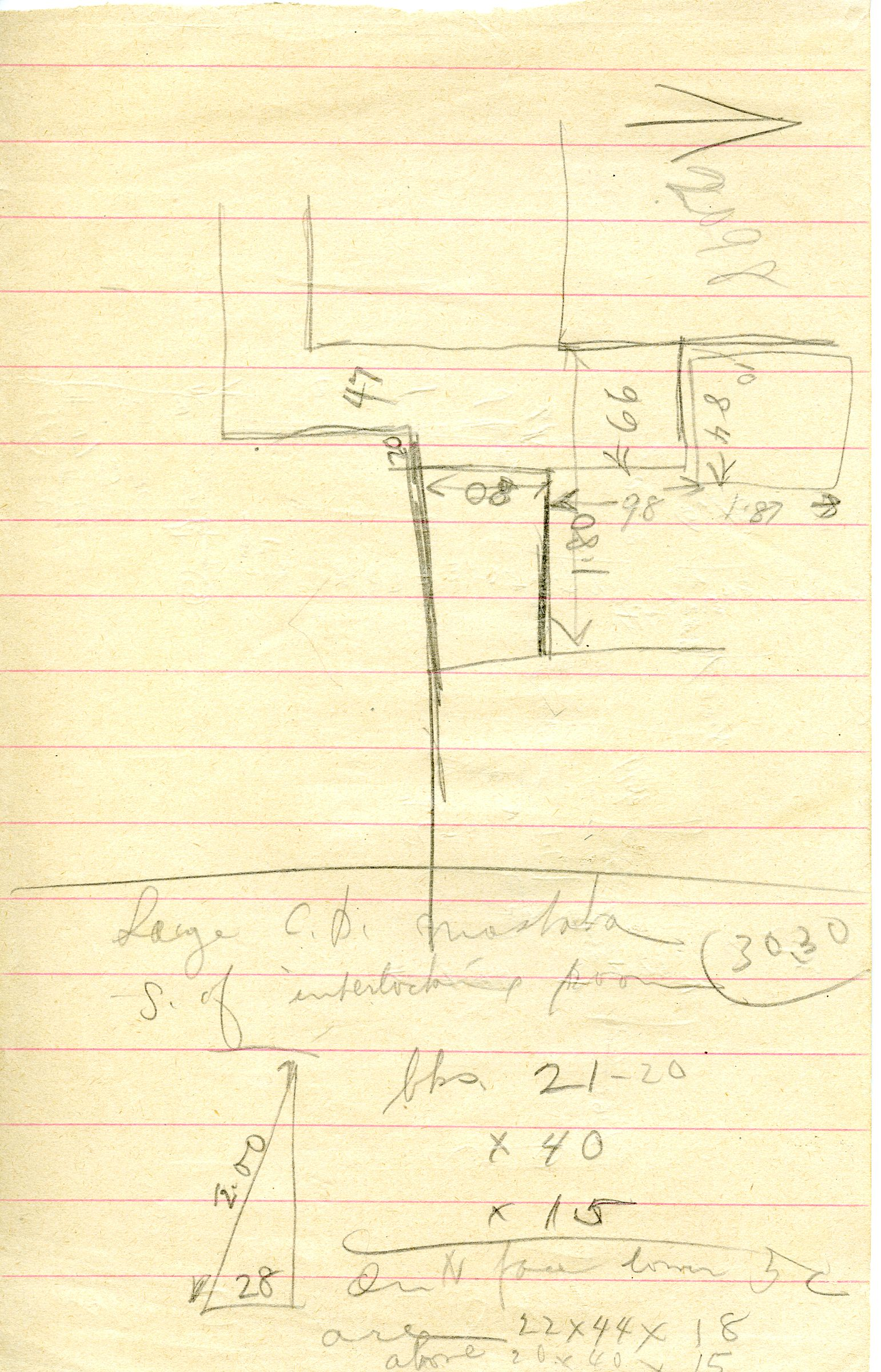 Maps and plans: G 3098, Sketch plan, and G 3030, Notes