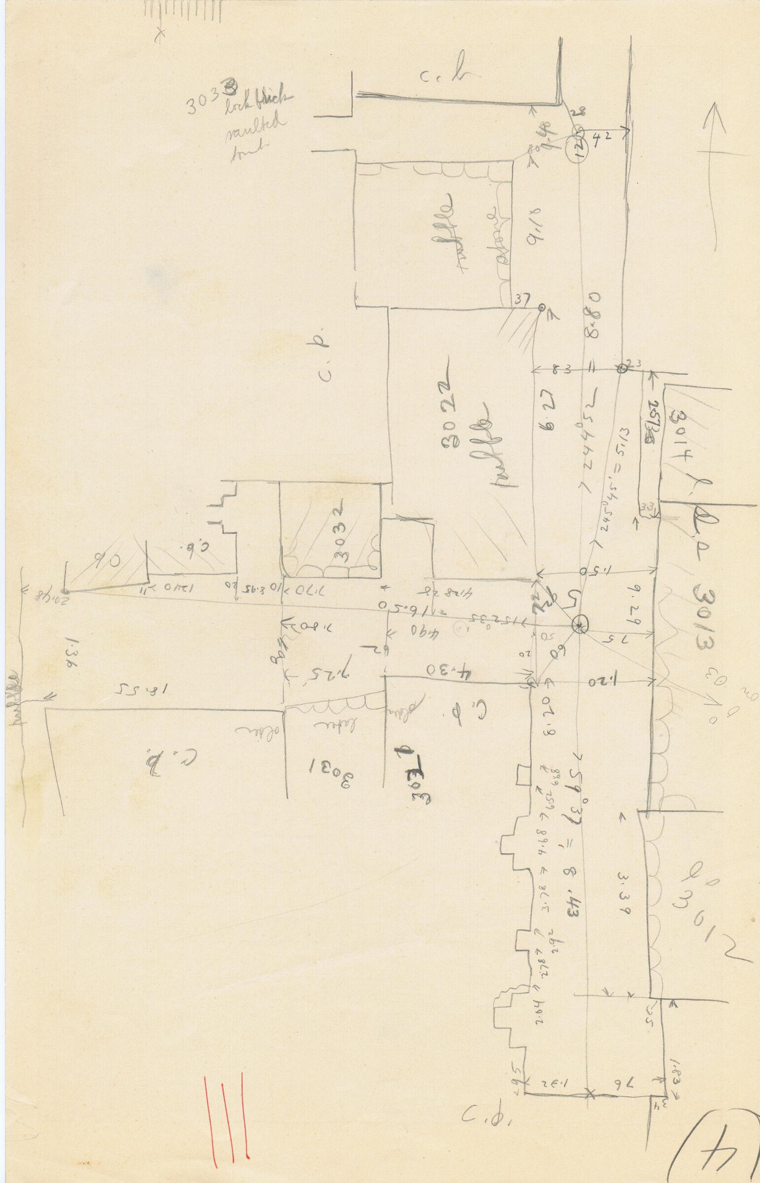 Maps and plans: Sketch plan of G 3012, G 3013+3014, G 3021, G 3022, G 3031, G 3032, G 3033, and G 3036