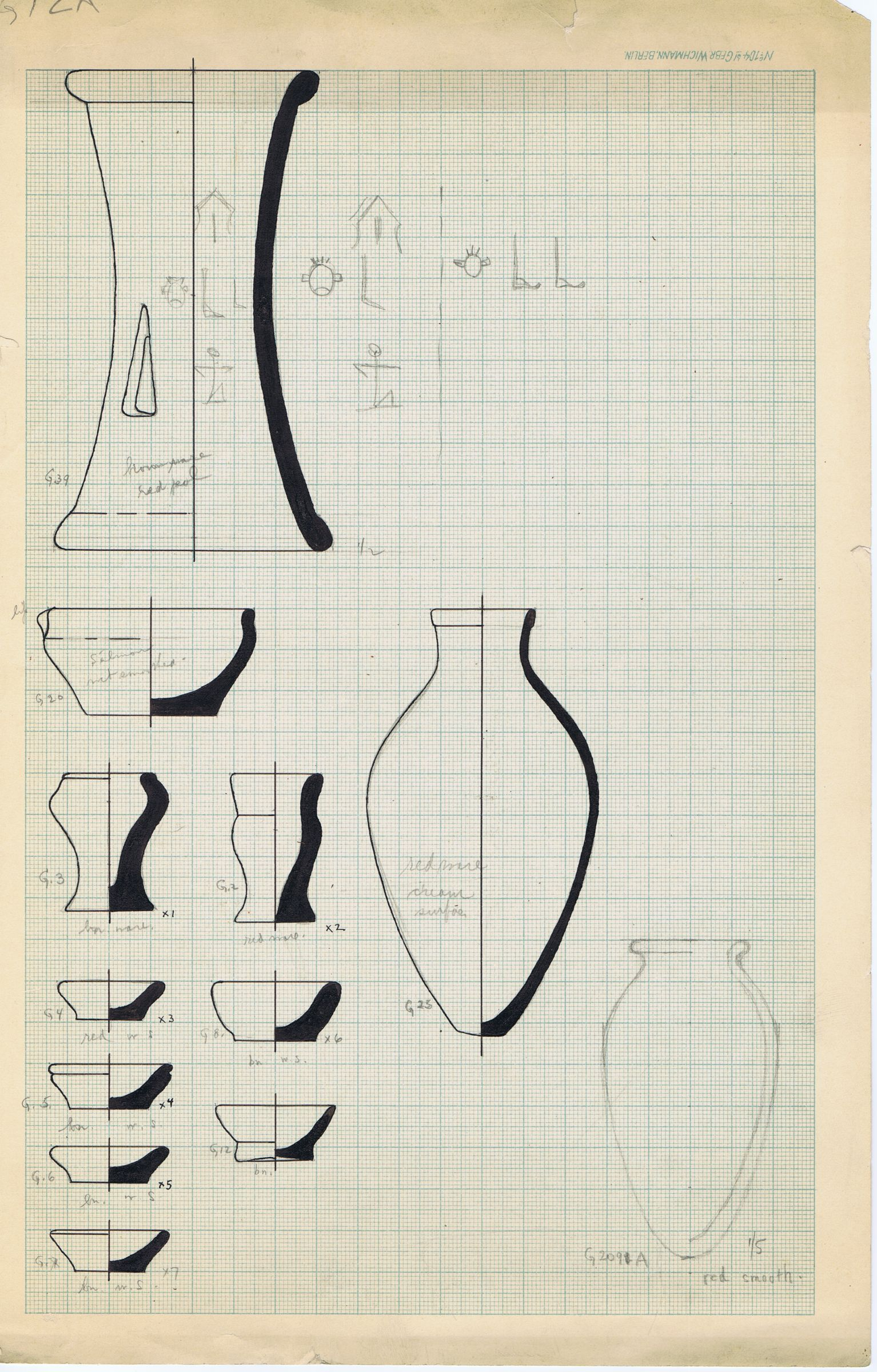 Drawings: Cemetery G 3000: pottery
