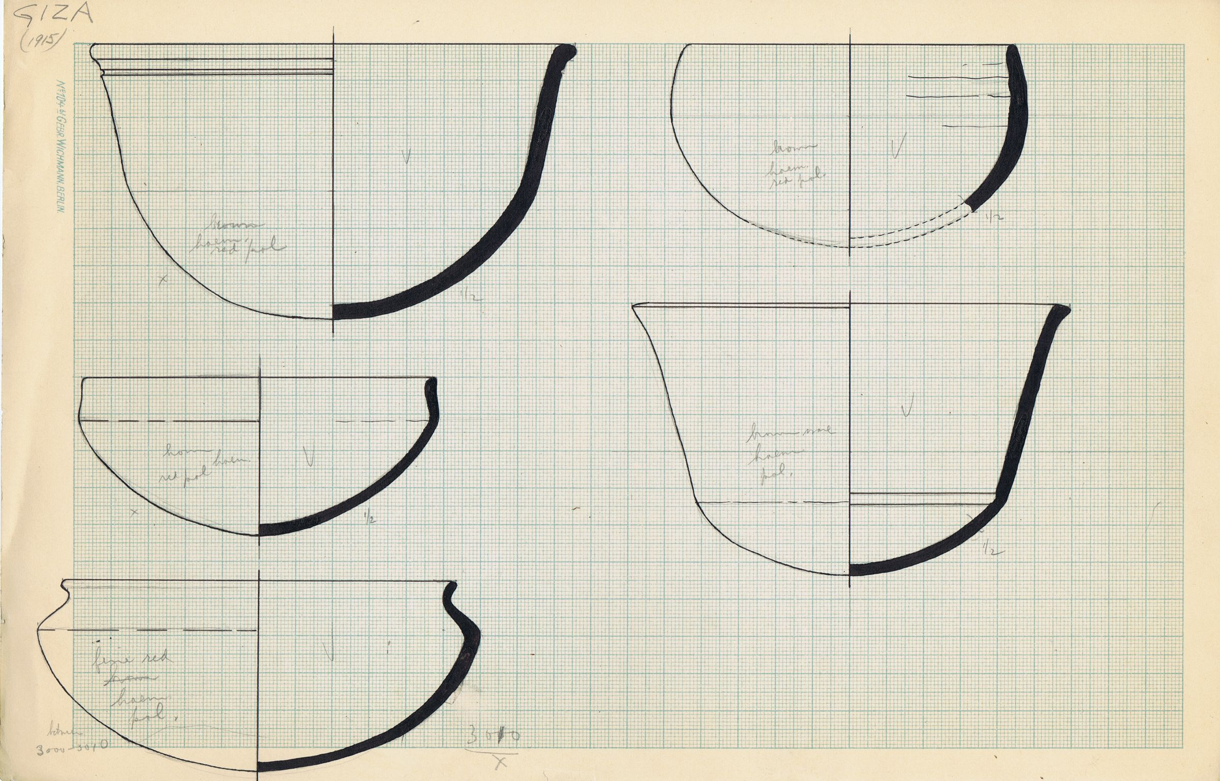 Drawings: Cemetery G 3000: pottery bowls