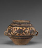 Wide-Mouthed, Globular Jar With Short Flaring Neck, Two Loop Handles, And Pictorial Décor, The Pictorial Décor Representing Zoömorphs, Perhaps Tortoises Or Frogs, On One Side, And Wavy Lines Reminiscent Of Flowing Water, Perhaps A River, On The Other Side