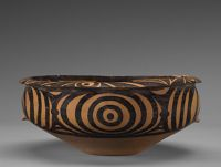 Circular Basin With Everted Lip, Two Flat Crenellated Handles, And Abstract, Geometric Decor