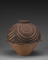 Large Ovoid Jar With Two Strap Handles, Flaring Lip, And Geometric Decor