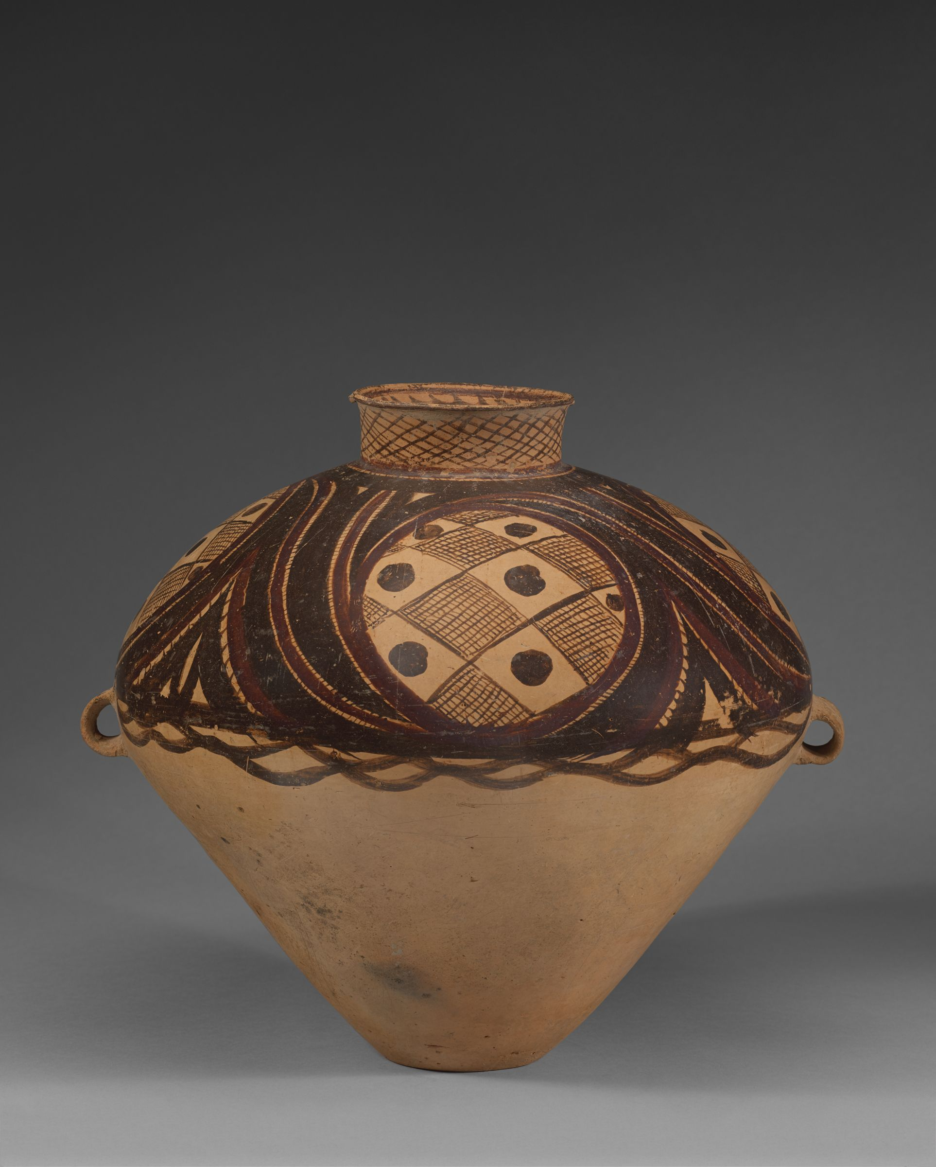 Ovoid Jar With Two Handles And Geometric Decor