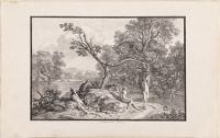Wooded Landscape With Bathers