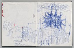 Untitled (Sketch For Europalia Inflatable With Blank Sheet Pasted Over Upper Left, Two-Page Spread)