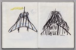 Untitled (Pasted Sketch With Note, Left Page); Untitled (Pasted Sketch, Right Page)