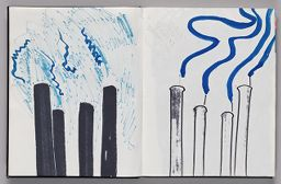 Untitled (Bleed-Through Of Previous Page, Left Page); Untitled (Designs For Wind Socks Using Color Transfer, Right Page)