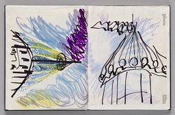 Untitled (Pasted Sketch, Left Page); Untitled (Pasted Sketch With Note, Right Page)