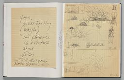 Untitled (Pasted Notes On Legal Ruled Paper, Left Page); Untitled (Pasted Sketches On Legal Ruled Paper, Right Page)