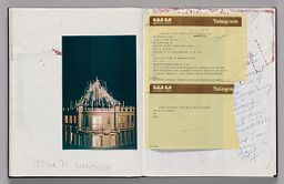 Untitled (Pasted Photograph, Left Page); Untitled (Pasted Photograph With Notes, Telegram Messages Pasted Atop, Right Page)