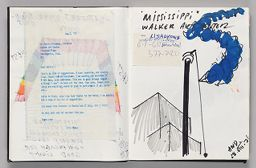 Untitled (Inserted Letter With Bleed-Through Of Previous Page, Left Page); Untitled (Design For Mississipi Wind Sock With Inserted Note, Right Page)