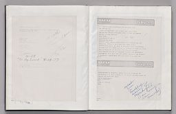 Untitled (Pasted Itinery With Notes, Left Page); Untitled (Pasted Copy Of Telegrams With Notes, Right Page)