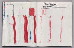 Untitled (Bleed-Through Of Previous Page, Left Page); Untitled (Text Above Bleed-Through Of Red Candlestick Designs, Right Page)