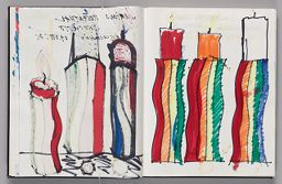 Untitled (Bleed-Through Of Previous Page, Left Page); Untitled (Rosenthal Candleholder Designs Atop Color Transfer, Right Page)