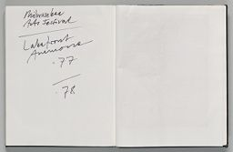 Untitled (Text, Left Page); Untitled (Blank, Right Page)