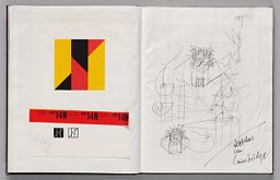 Untitled (Pasted Color Samples From Hks, Left Page); Untitled (Pasted Sketch For Europalia Inflatable, Right Page)