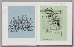 Untitled (Pasted Sketch On Colored Paper, Left Page); Untitled (Pasted Sketch On Colored Paper With Note, Right Page)