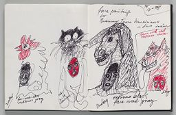 Untitled (Bremen Town Musician Faces, Two-Page Spread)